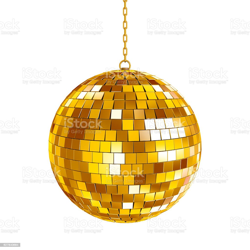 Golden disco ball stock photo