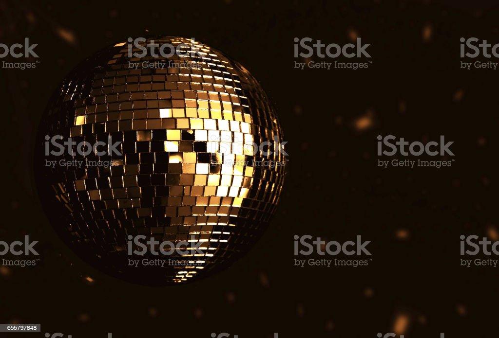 golden disco ball stock photo