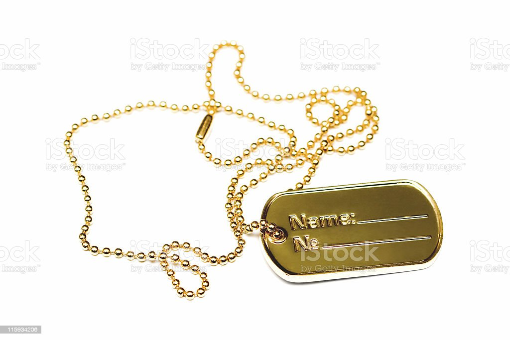 Golden dogtag royalty-free stock photo