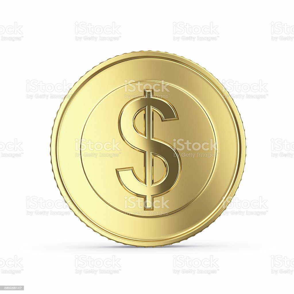 golden dollar coin on white background stock photo