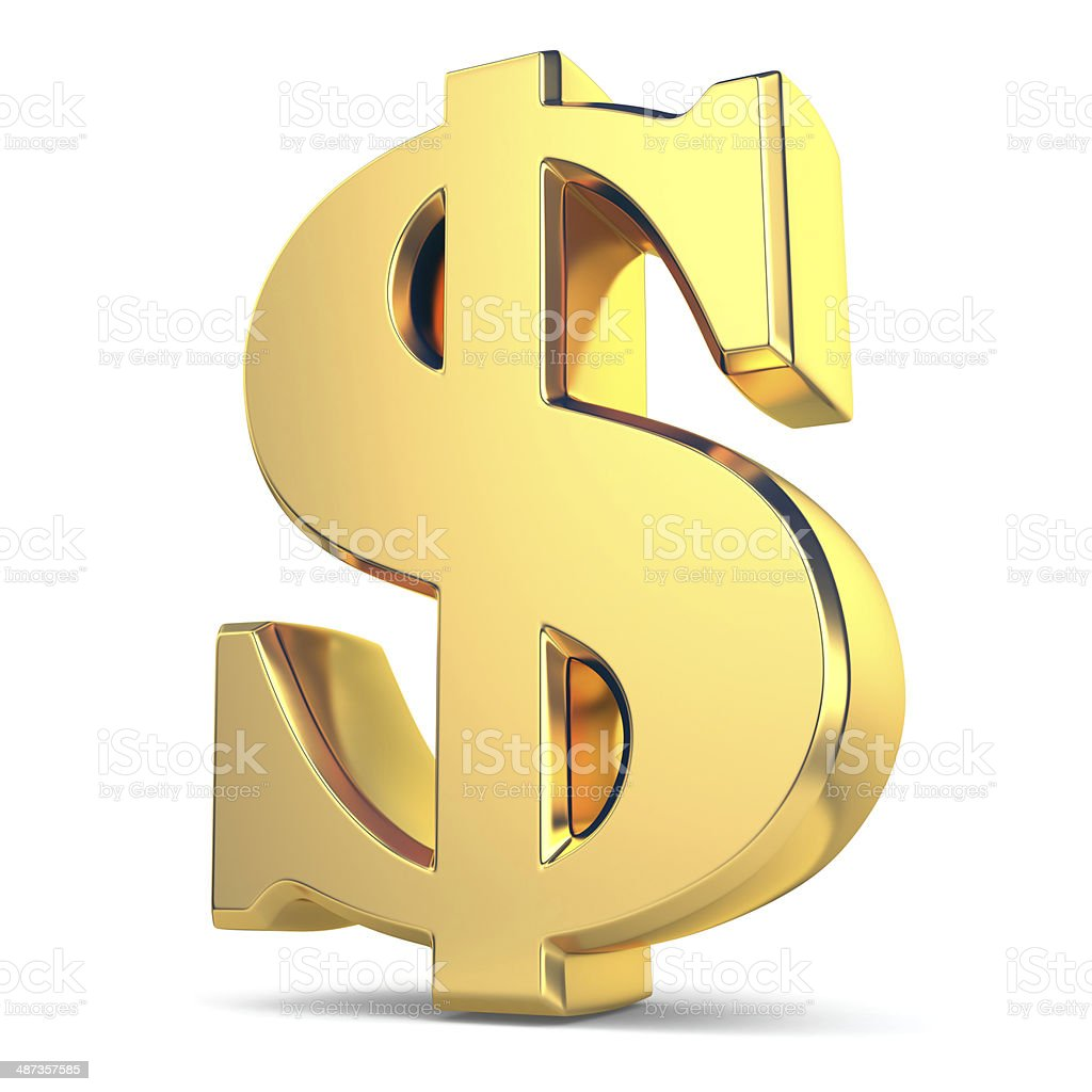 Golden dollar currency sign stock photo