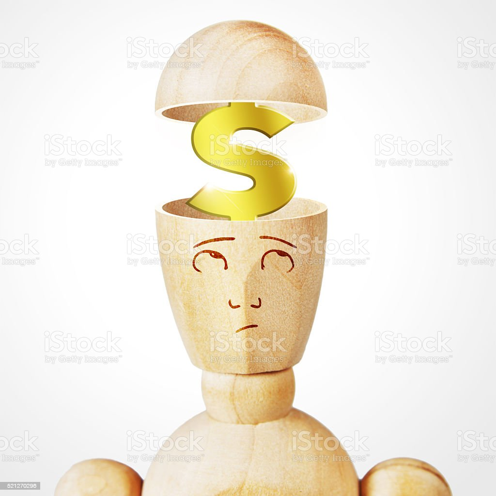 Golden dollar sign into the human head stock photo