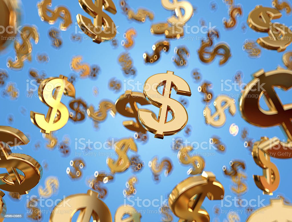 Golden dollar signs raining. stock photo