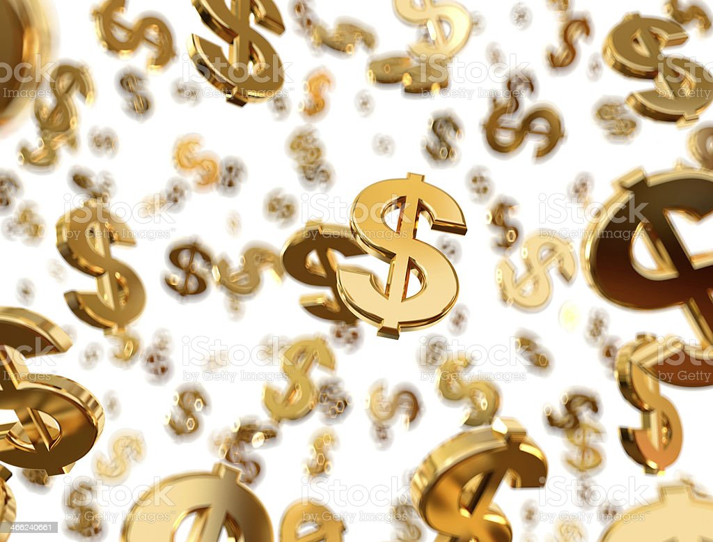 Golden dollar signs raining with white background stock photo