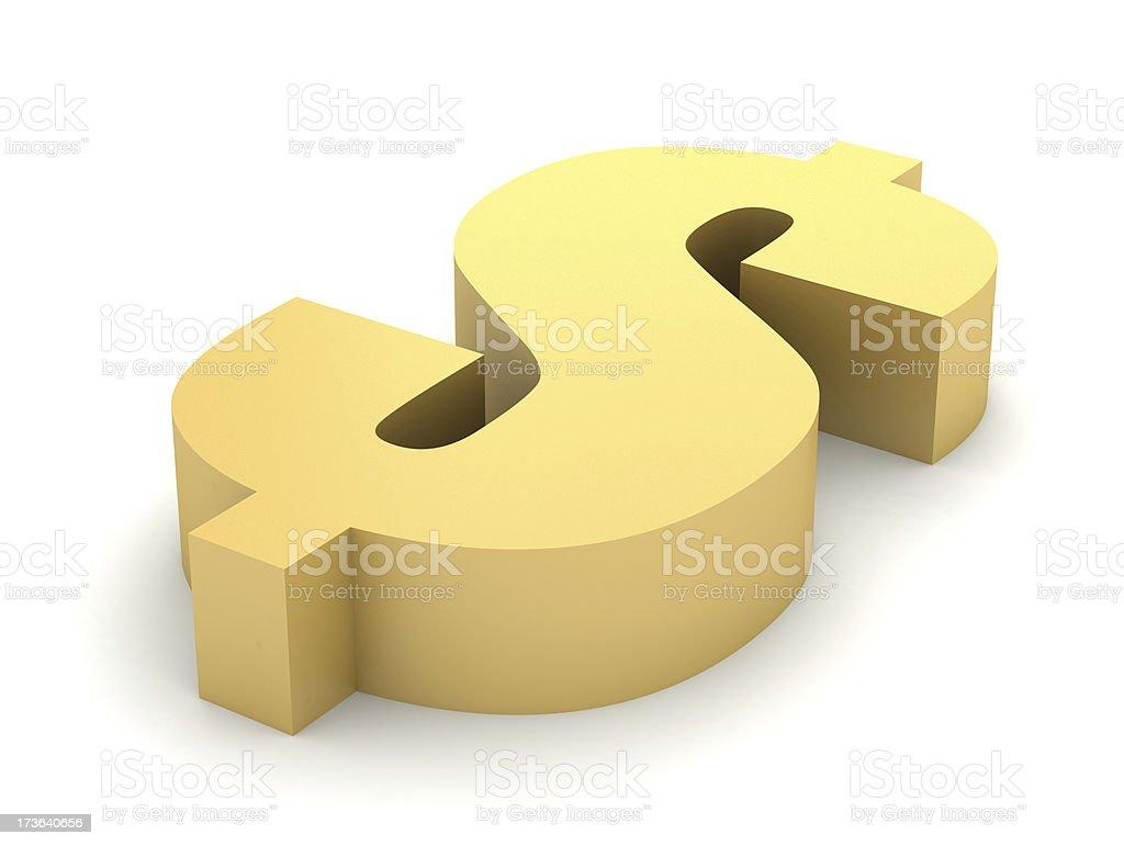 Golden Dollar Symbol royalty-free stock photo