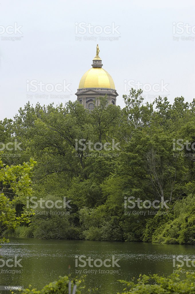 Golden Dome at Notre Dame stock photo