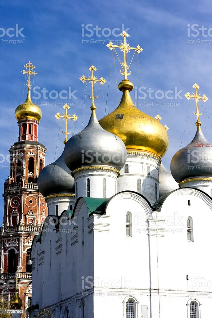 Golden dome in Novodevichy Convent stock photo