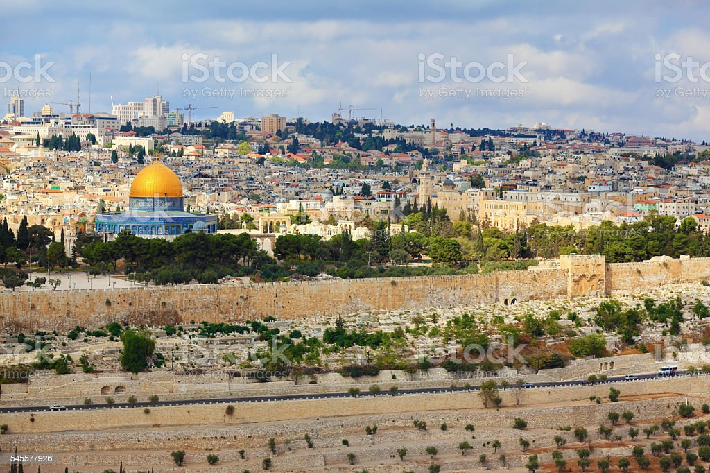 Golden Dome Mosque Dome of the Rock stock photo