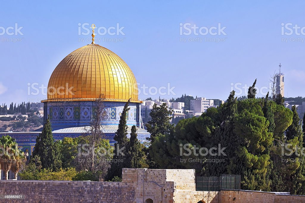 Golden Dome Mosque of Caliph Omar stock photo