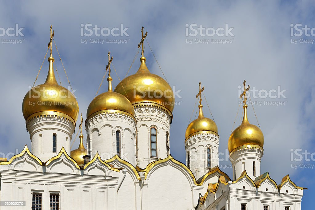 Golden dome of Annunciation Cathedral stock photo