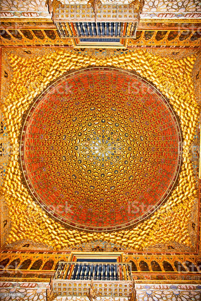 Golden Dome of the Ambassadors room in Alcazar, Seville, Spain. royalty-free stock photo