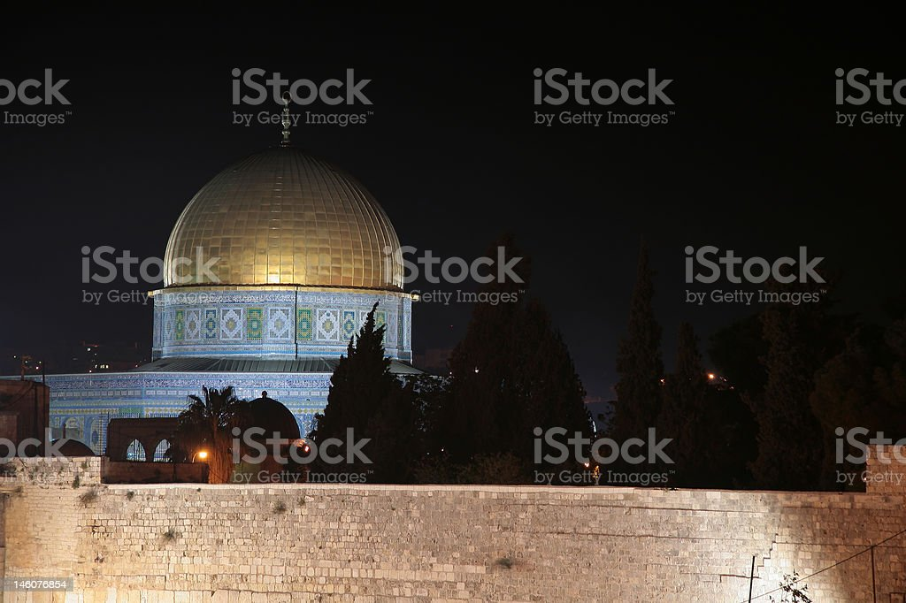 Golden Dome of the Rock at Night royalty-free stock photo