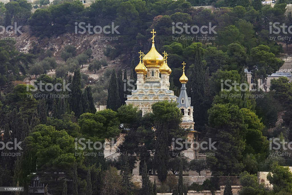 Golden domes and cypresses royalty-free stock photo