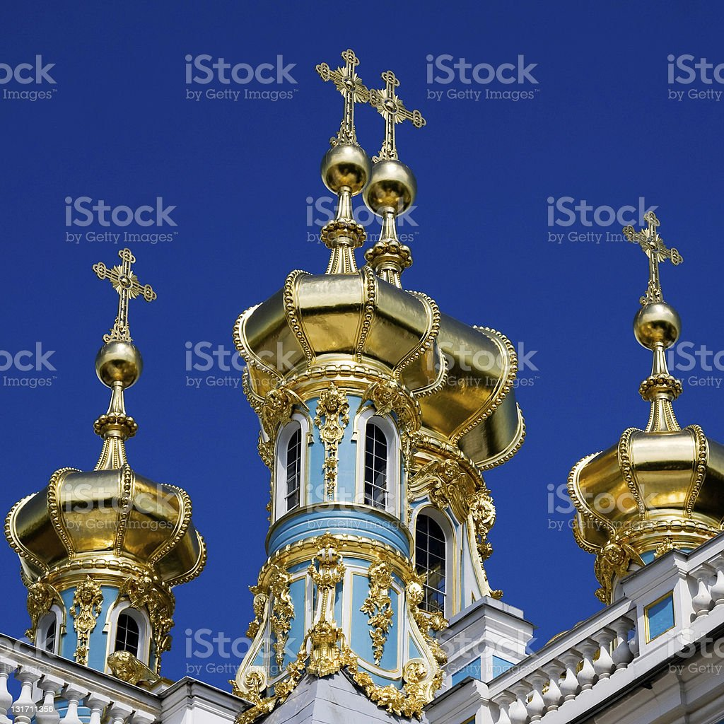 golden domes of catherine's palace in tsarkoie selo stock photo