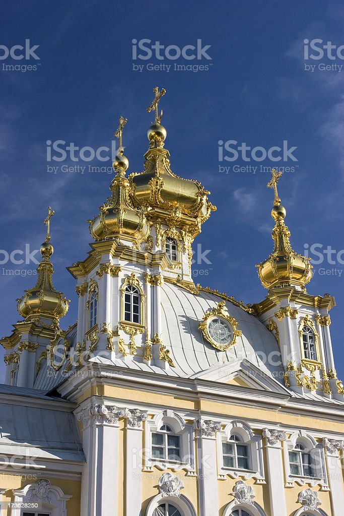Golden Domes of Peter's Palace stock photo