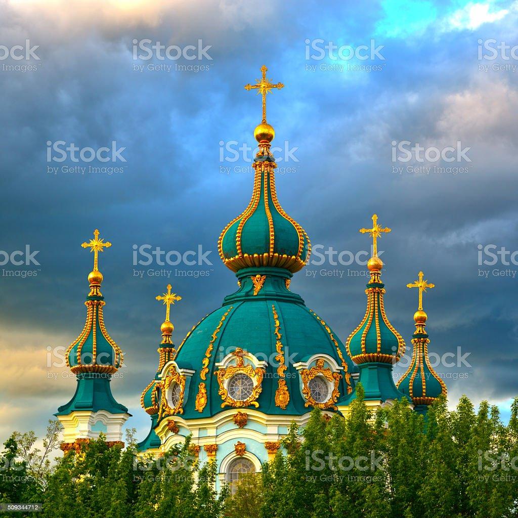 Golden Domes of Saint Andrew's Church in Kiev stock photo