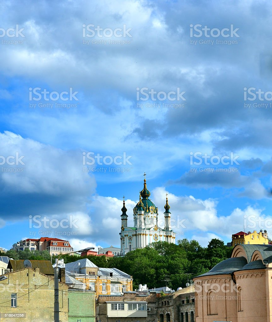 Golden Domes of Saint Andrew's Church in Kiev. stock photo