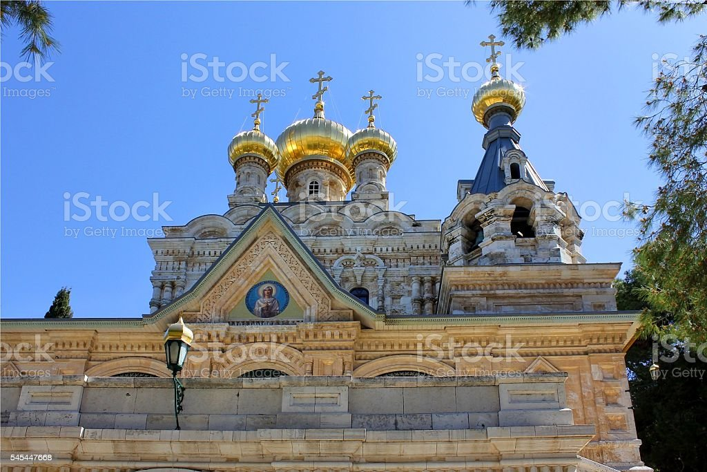 golden domes of the Church stock photo