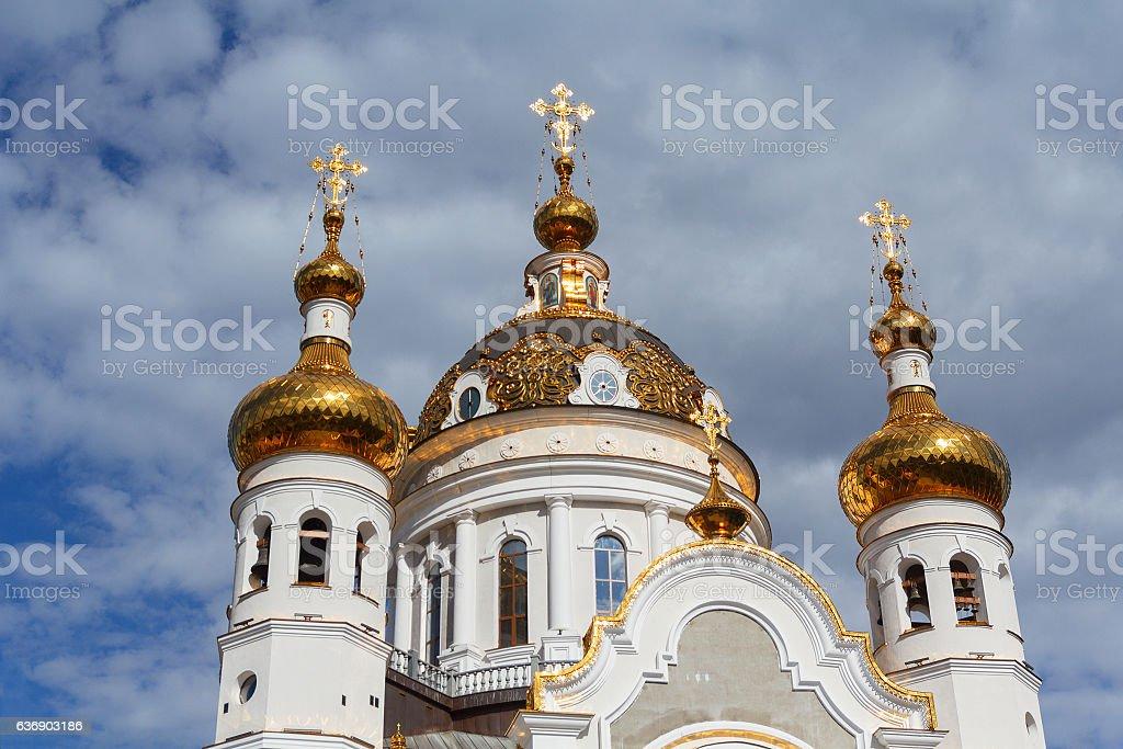 Golden domes of the Orthodox church. Donetsk, Ukraine stock photo