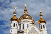 Golden domes of the Orthodox church. Donetsk, Ukraine