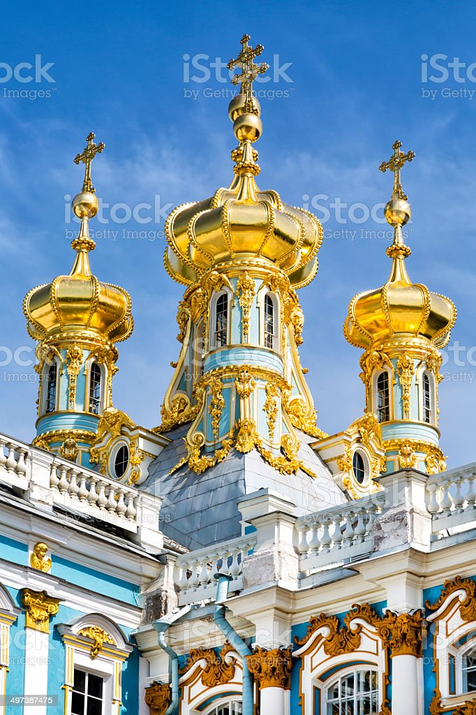 Golden Domes, Orthodox Church, Catherine Palace, Tsarskoye Selo, St Petersburg stock photo