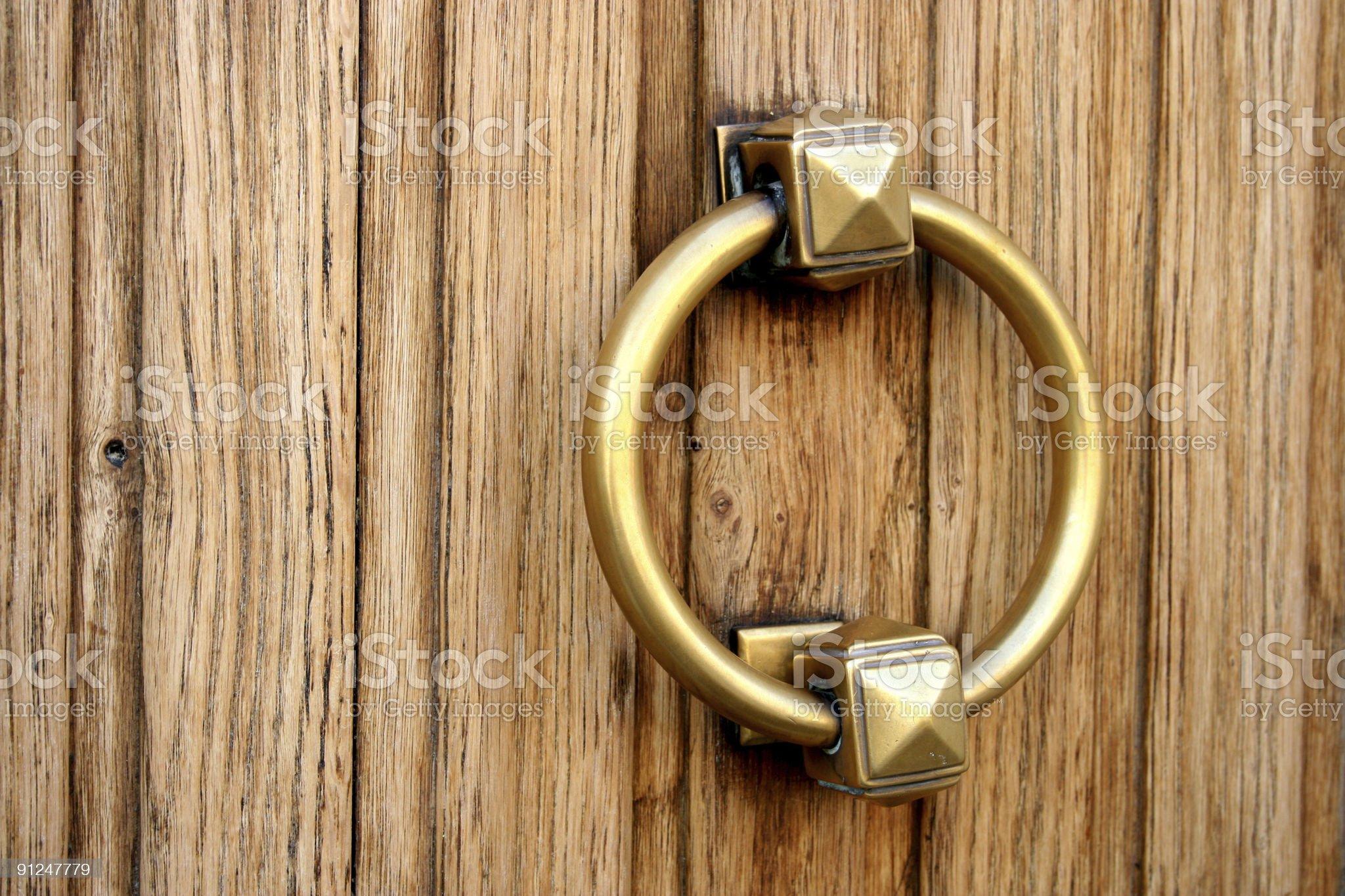Golden door handle royalty-free stock photo