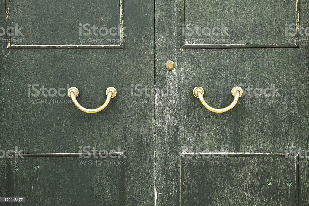 Golden door handles royalty-free stock photo