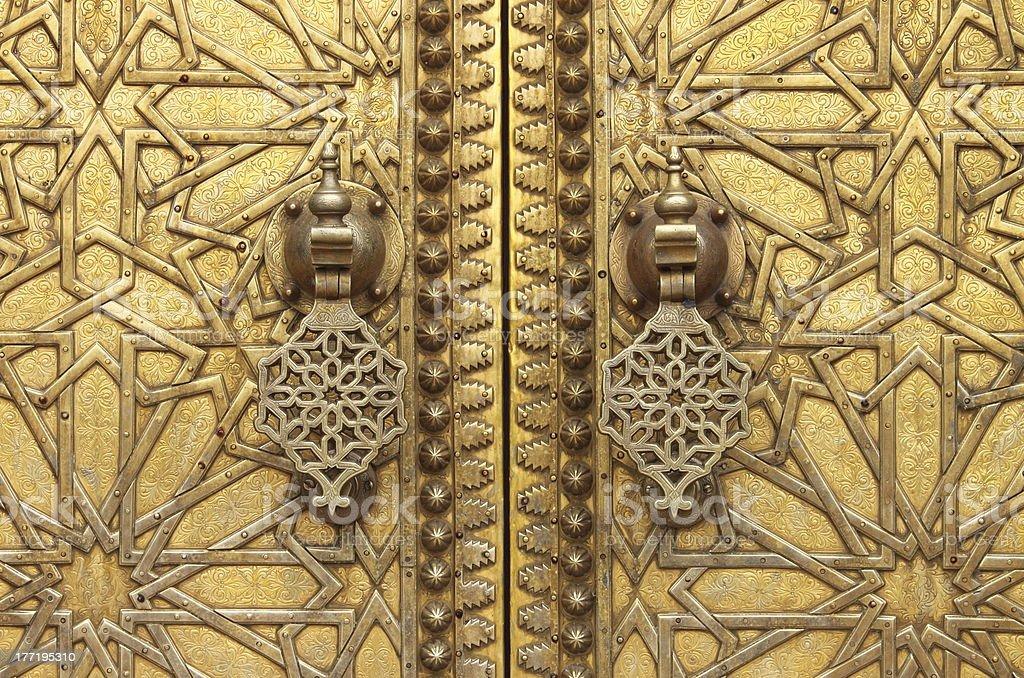 Golden door knockers royalty-free stock photo