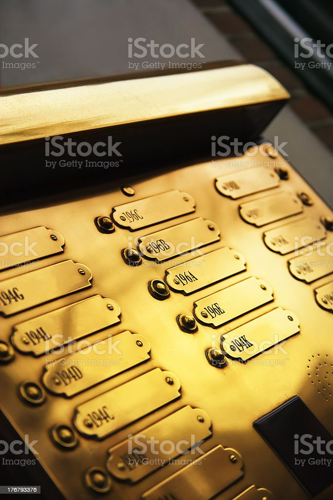 golden doorbells royalty-free stock photo