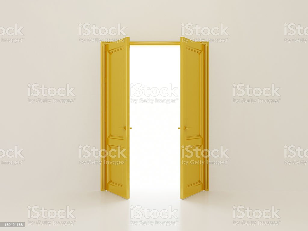 Golden doors stock photo