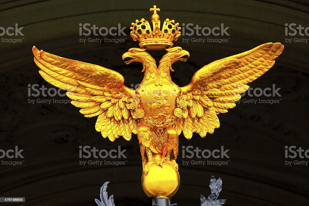 Golden double-headed eagle in St. Petersburg, Russia stock photo