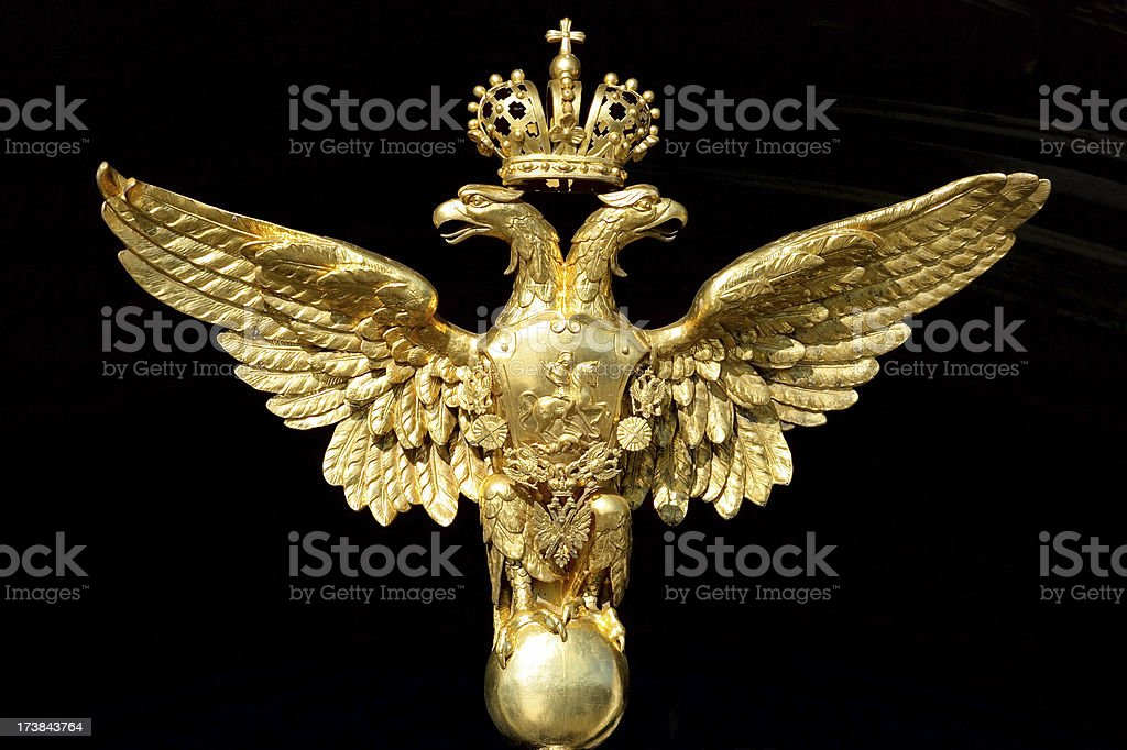 Golden double-headed eagle - national symbol of Russia stock photo
