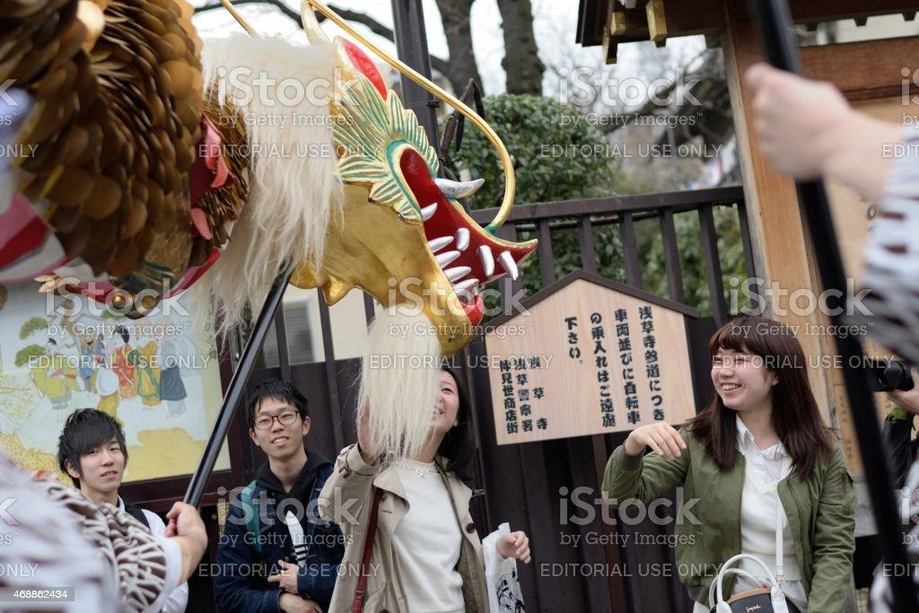 Golden Dragon Dance stock photo