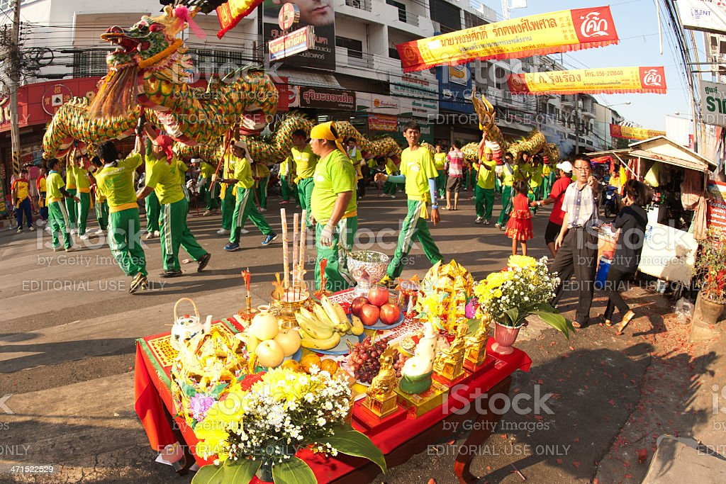 Golden dragon in parades. royalty-free stock photo