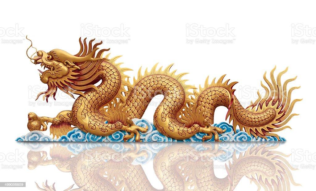 golden Dragon on white background stock photo