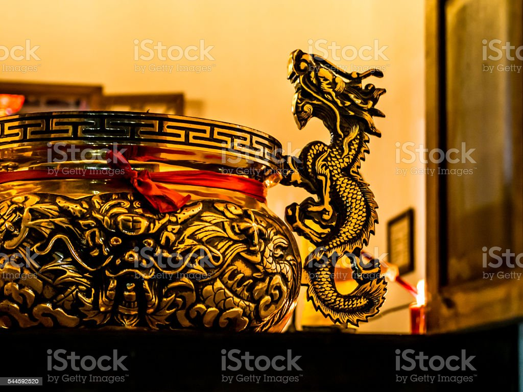 Golden Dragon Sculpture stock photo