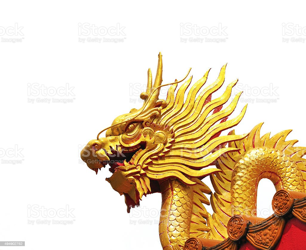 Golden dragon statue isolated on white background stock photo