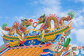 Golden dragon statue on public shrine roof
