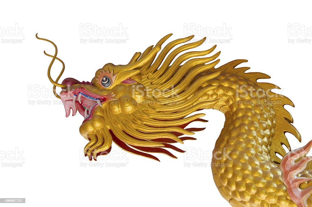 Golden Dragon Statue On White Background royalty-free stock photo