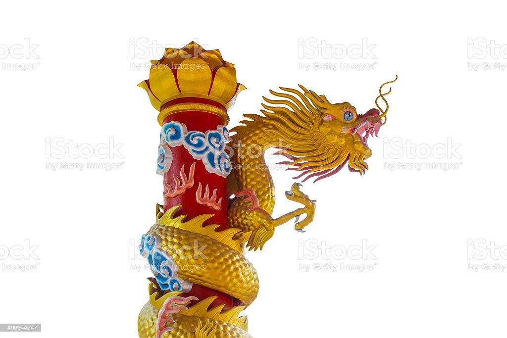 Golden Dragon Statue On White Background royalty-free stock photo