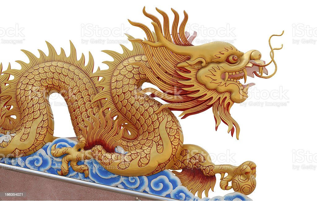 Golden dragon statue royalty-free stock photo