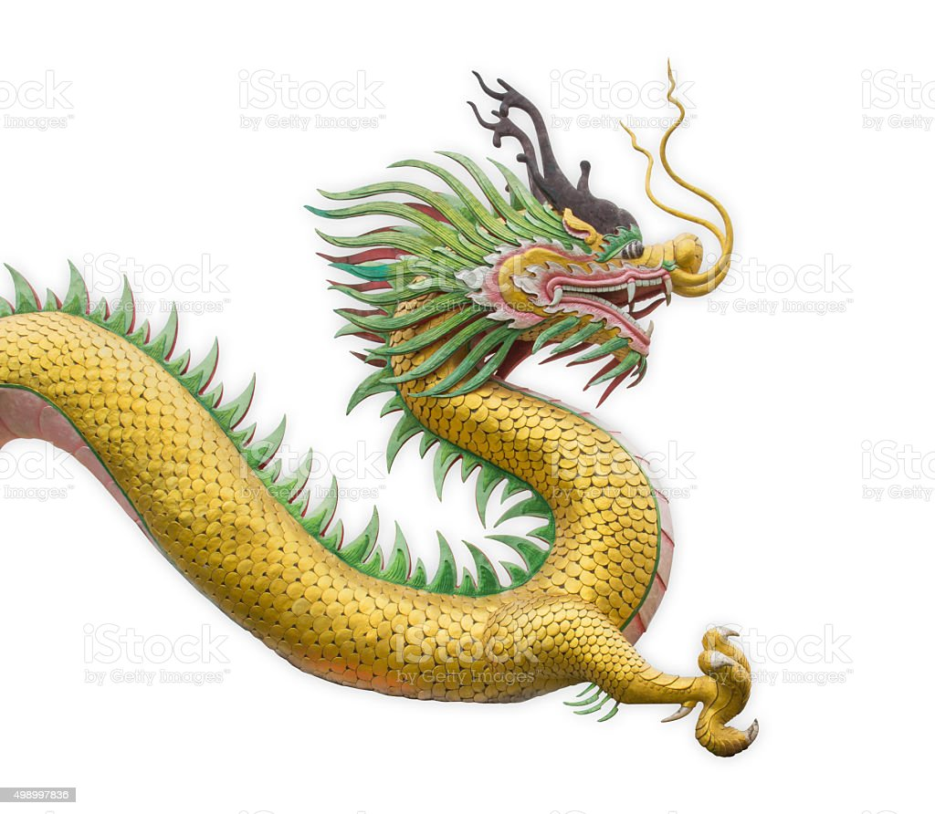 Golden dragon statue. stock photo