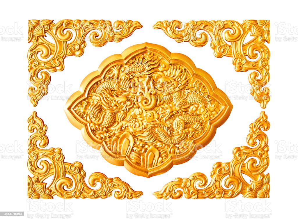 Golden dragon stucco decoration elements on white with frame stock photo