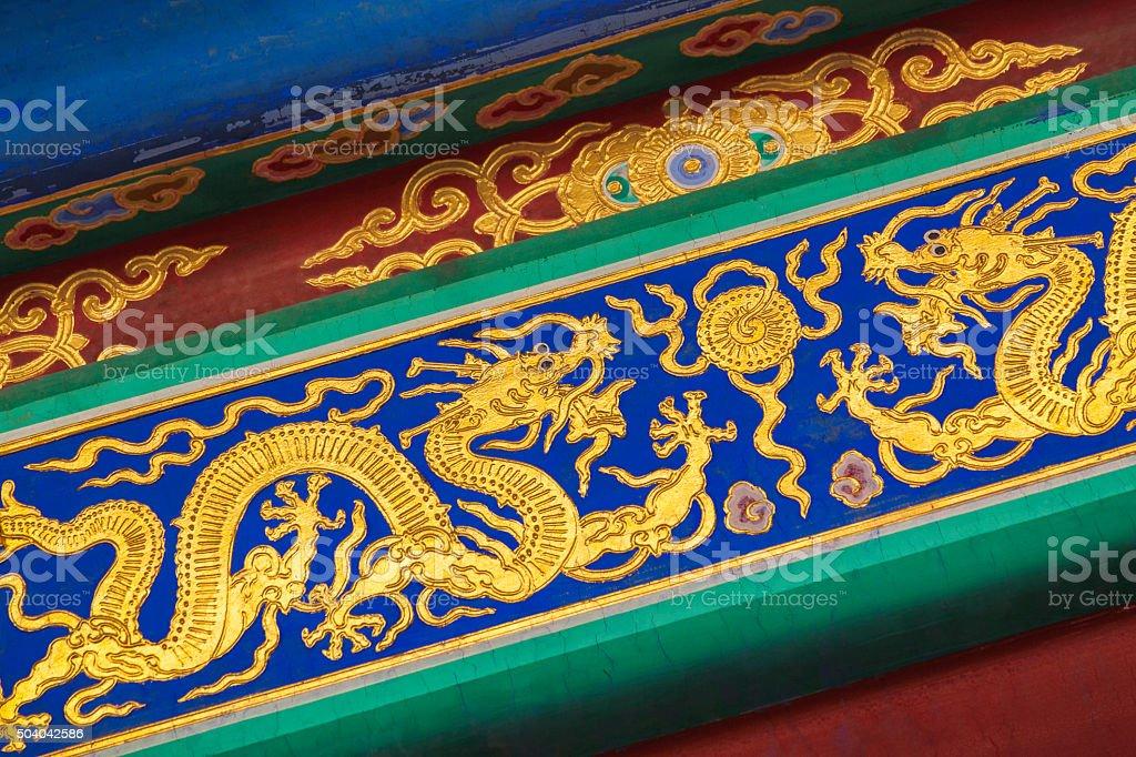 Golden dragons stock photo