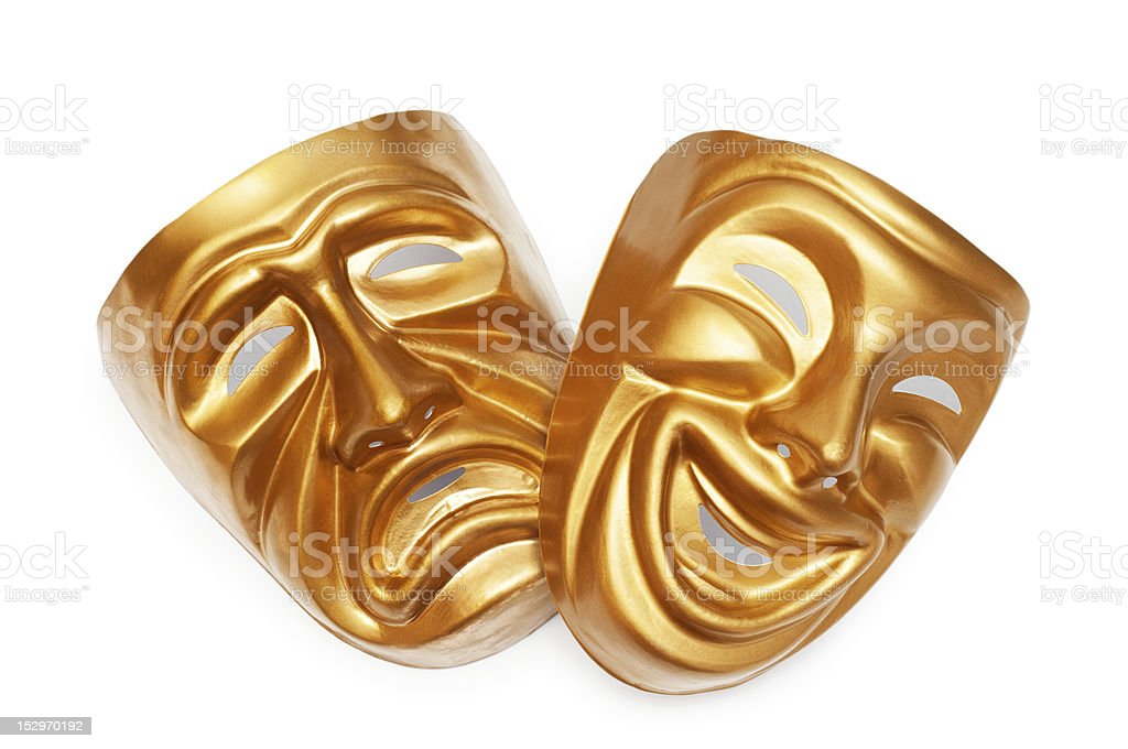 Golden drama tragedy and comedy masks stock photo