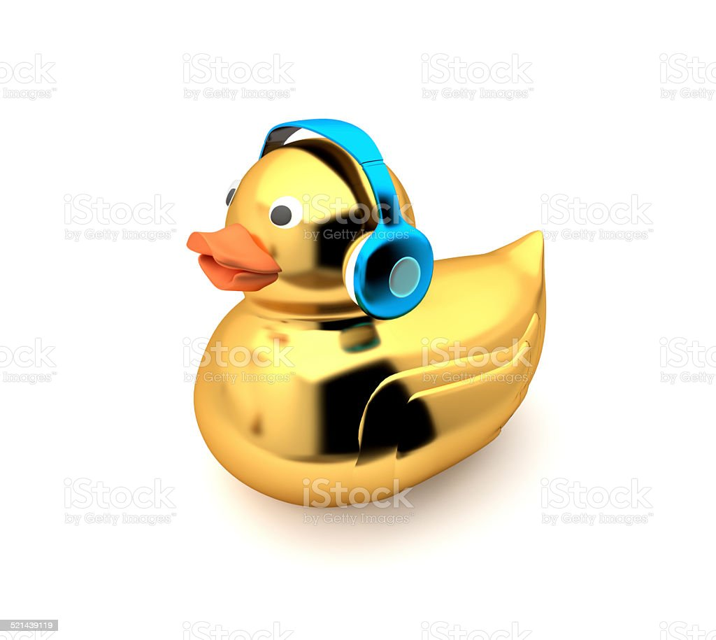 Golden duck listening to music stock photo