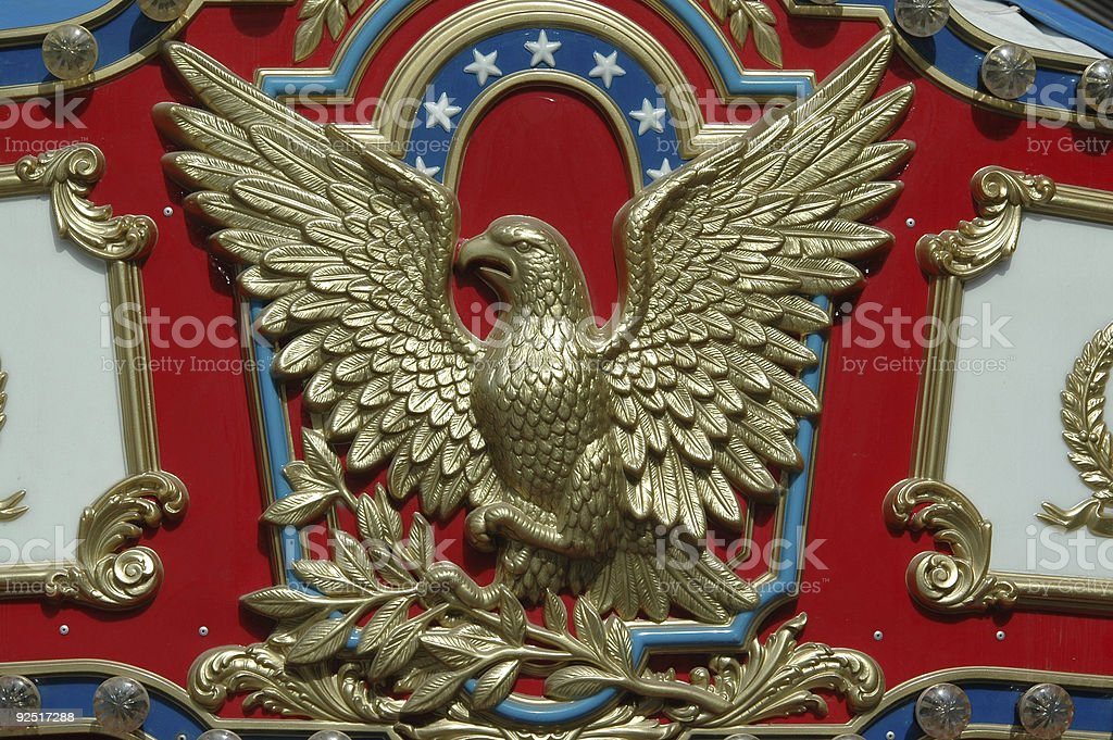 golden eagle carving stock photo