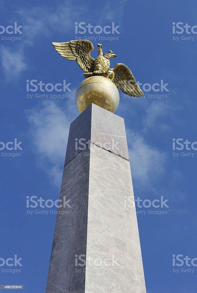 Golden Eagle Obelisk in Helsinki stock photo