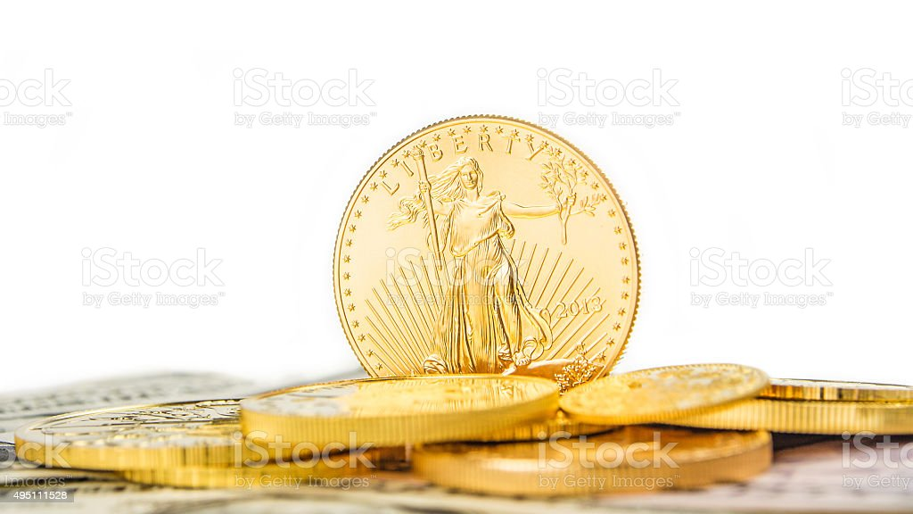 golden eagle standing on edge stock photo