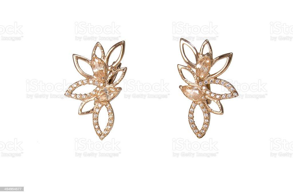 Golden earings stock photo